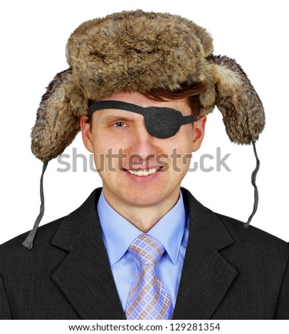 Russian pirate in business suit and fur cap with ear flaps isolated on white background