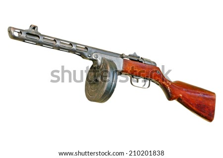 Russian PPsH machine gun isolated on white background. - stock photo