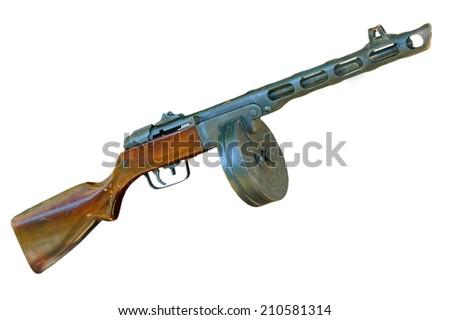 Russian PPsH machine gun taken closeup isolated on white background. - stock photo