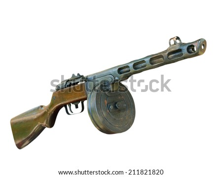 Russian PPSh machine gun taken closeup isolated on white background. - stock photo