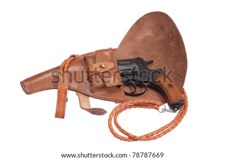 Russian revolver Nagant in a holster isolated on a white background