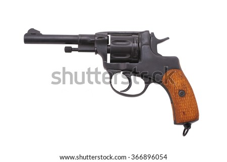 "Russian revolver ""Nagant M1895"" (example of 1913). Period of WWI. Path on the white background."