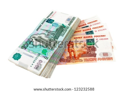 Russian rubles bills isolated on white background - stock photo