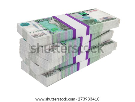 Russian rubles bills packs on stack, illustration on white background - stock photo