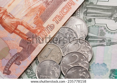Russian rubles, coins and banknotes