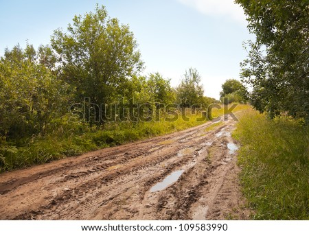Russian rural landscape with empty countryside dirt wet road - stock photo