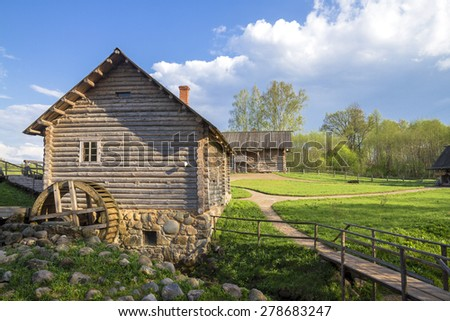 Russian rural landscape with old mill