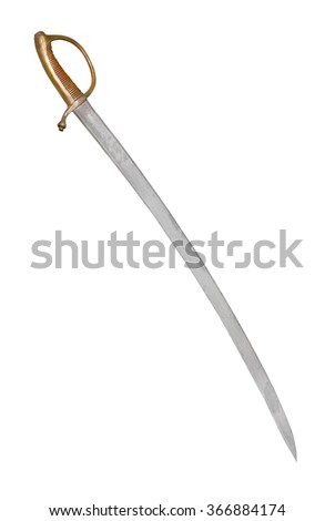 Russian saber of infantry soldier, (end of 18 century). Path on black background