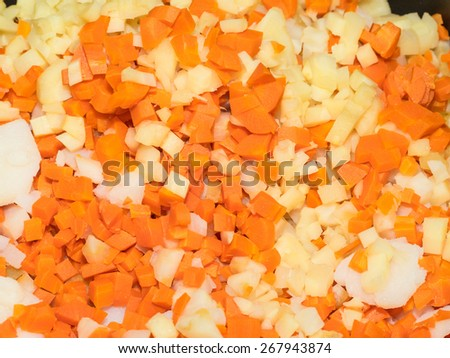 Russian salad or Salade russe, also known as Salade Olivier is a salad composed of diced potato, vegetables and sometimes meats bound in mayonnaise. - stock photo