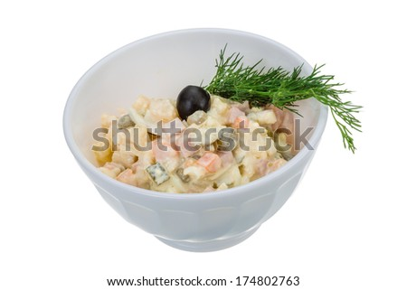 Russian salad with dill