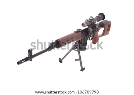 russian sniper rifle with optic sight - stock photo