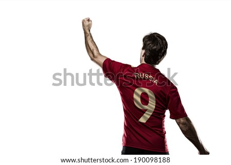 Russian soccer player, celebrating on the white background.
