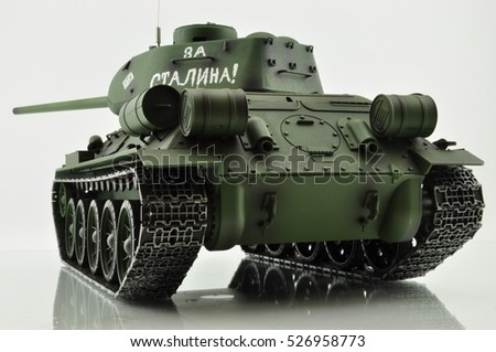 "Russian T34 tank of the Second World War to fight invaders, the words ""ahead of Mr. Stalin"""
