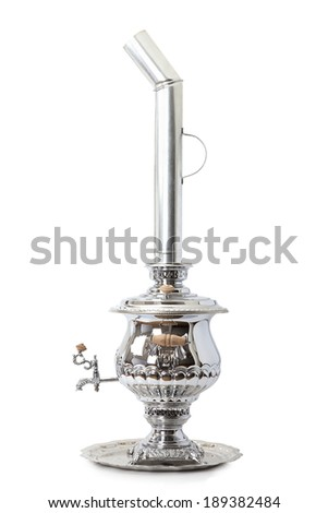 Russian tea samovar with a pipe, isolated on white