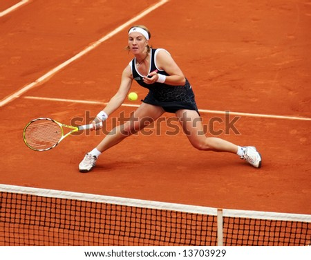 Russian top tennis player and world #4 Svetlana Kuznetsova plays net volley during her match at French Open 2008, Roland Garros. Paris, France.