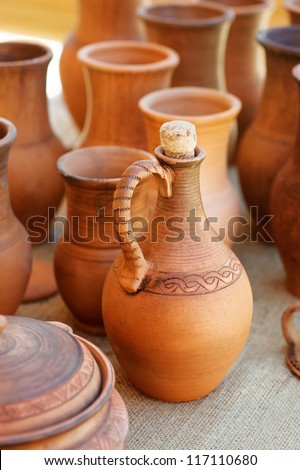 Russian traditional clay pots of manual work. - stock photo