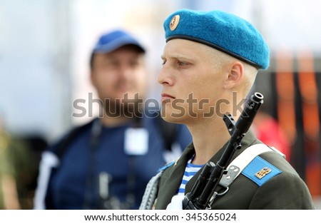 "russian trooper in the watch, Ivanovo city, festival ""Open air 2014"", 09 august 2014"