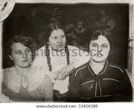 Russian vintage photograph, beginning of XX century. three young girl - stock photo