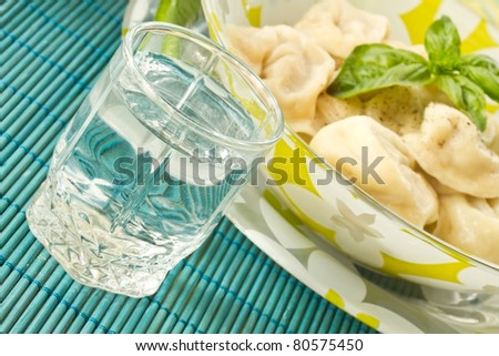 Russian vodka and Russian national pelmeni