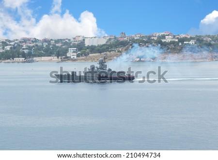 Russian warship in the Sevastopol Bay, Crimea - stock photo