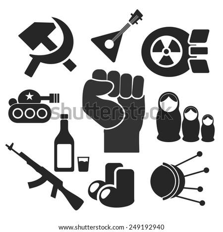 Russian web and mobile logo icons collection isolated on white back. Symbols of fist, felt boots, balalaika, satellite, sputnik, tank, hammer and sickle, nuke, vodka, matrioshka, ak - stock photo