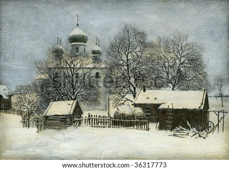 Russian winter, painted with tempera on paper. - stock photo