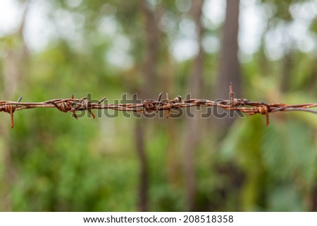 Rust barbed wire fence and green field - stock photo