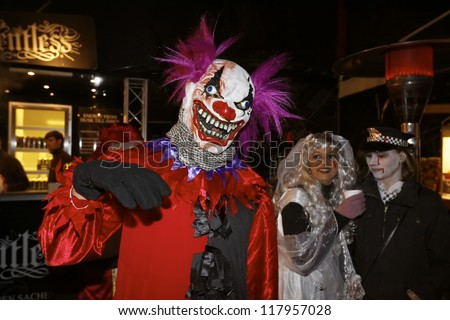 RUST, GERMANY - OCTOBER 31: Halloween party SWR 3, many people celebrate the Halloween party at the Europa Park in Rust, Germany. October 31, 2012. - stock photo