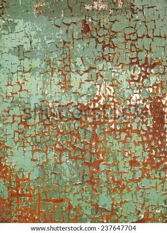rust on green metal door texture - stock photo