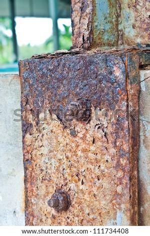 Rust steel or steel poles. - stock photo
