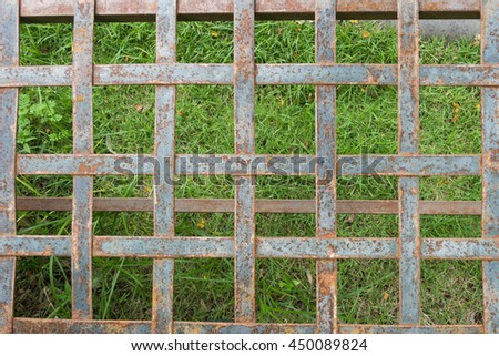 Rust steel with green grass texture and detail