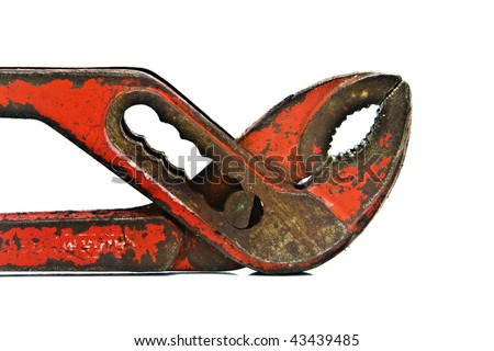 Rusted adjustable wrench spanner isolated on white background - stock photo