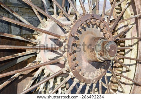 Rusted iron vintage locomotive wheel from train