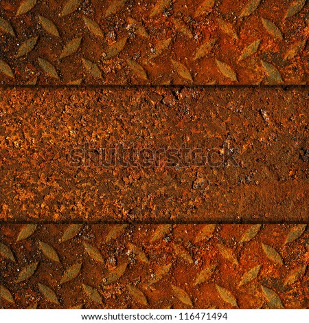 Rusted Metal with Diamond Pattern - stock photo