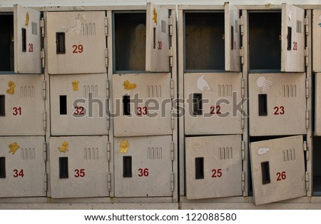 Rusted old cabinet lockers - stock photo