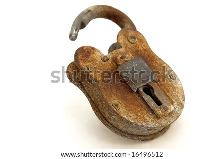 Rusted Open Padlock, isolated on white. - stock photo