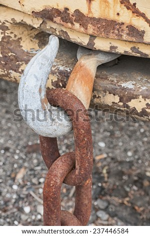 Rusted Tow Hook and Chain - stock photo