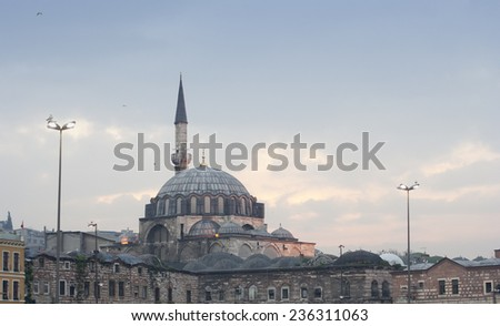 Rustem Pasa Mosque in Istanbul - View of the Minaret and the central Dome from the Southeast - Istanbul, Turkey, Europe