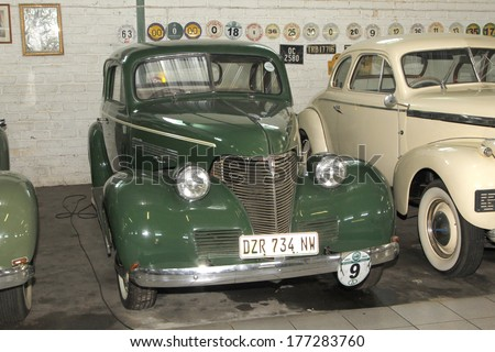 RUSTENBURG, SOUTH AFRICA - FEBRUARY 15:  Green 1939 Chevrolet Coupe Front View in Private Collection Philip Classic Cars on February 15, 2014 in Rustenburg South Africa.