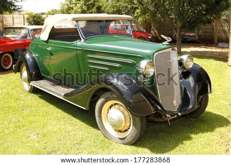 RUSTENBURG, SOUTH AFRICA - FEBRUARY 15:  Green 1934 Chevrolet Roadster Driver Side View in Private Collection Philip Classic Cars on February 15, 2014 in Rustenburg South Africa.