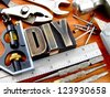 Rustic and vintage do it yourself (DIY) used tool background - stock photo