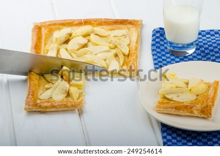 Rustic Apple Tart with puff pastry and milk - stock photo
