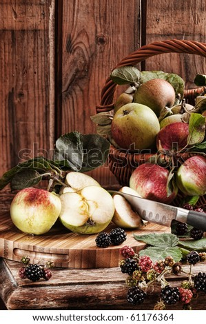 Rustic apples from the orchard with hedgerow blackberries with vintage effect - stock photo