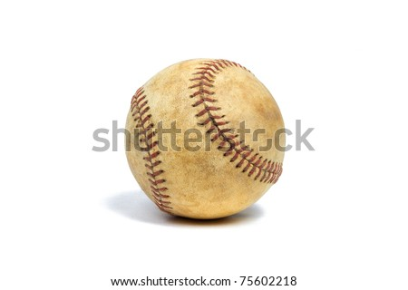 Rustic Baseball on a Pure White Background - stock photo