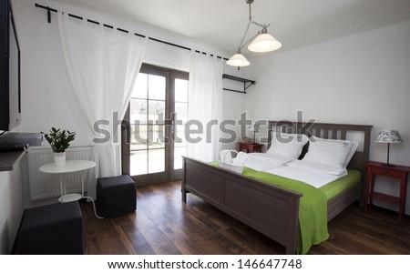 Rustic bedroom - stock photo