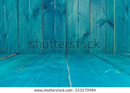 Rustic blue wood background - stock photo