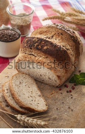 Rustic bread slices with flax seeds