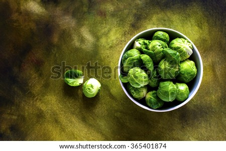 Rustic brussel sprouts top view - stock photo