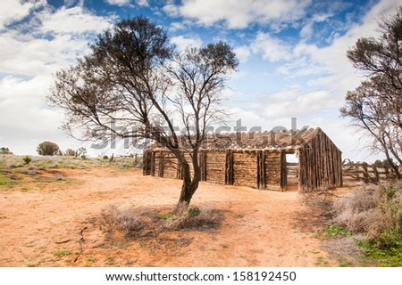rustic cabin Lake Mungo South Australia - stock photo