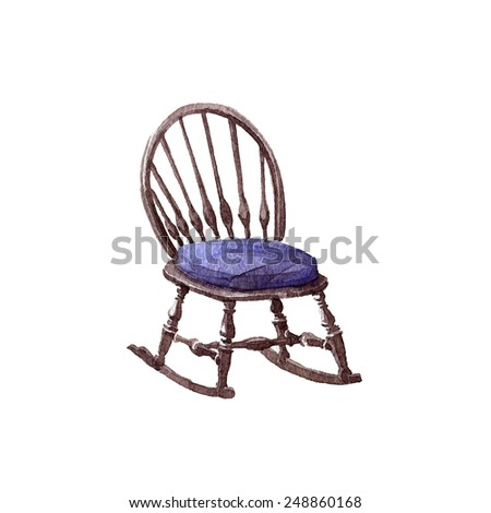 Rustic chair with on white background. Watercolor painting on paper.